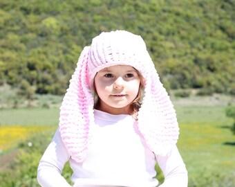 Pink bunny hat, animal hat, bunny beanie, bunny ears, easter bunny hat, kids bunny hat, bunny costume, bunny hat, easter baby gift, baby hat