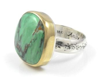 Natural Variscite Ring - 18K gold and sterling silver Variscite statement ring - Natural Variscite ring - size 9 - Australian Variscite ring