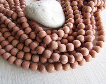 Rosewood round wood beads  , pink wood, natural exotic supplies  from Philippines  9.5 mm to 10 mm  (40 beads ) 6ph20