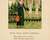 Kate Greenaway Print, Antique Victorian Original Kate Greenaway Illustration Print, Mary Quite Contrary Nursery Rhyme, 1890's Vintage