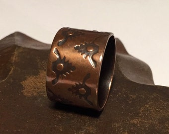 Copper Hand Stamped Ring - Textured  - Wide Band - Made to Order