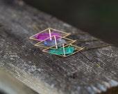 Aura Quartz Necklace / Gold Geometric Caged Crystal Necklace / Boho Gypsy Healing Quartz Point Necklace Triangular Dipyramid Necklace