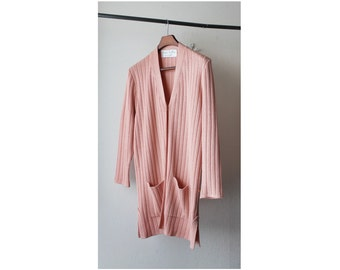 1990's Pink Ribbed V Neck Cardigan