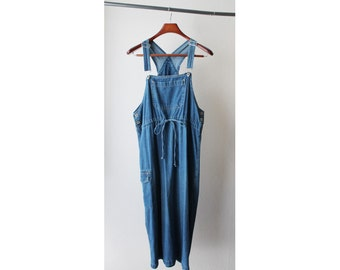 1990's Bliss Blass Denim Suspenders Overalls Dress