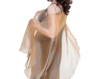 Caramel - Cream Formal Sheer Silk Scarf - Wrap