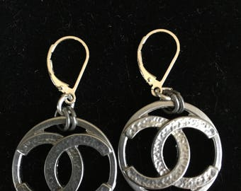 Silver Earrings Made from Vintage Chanel Buttons