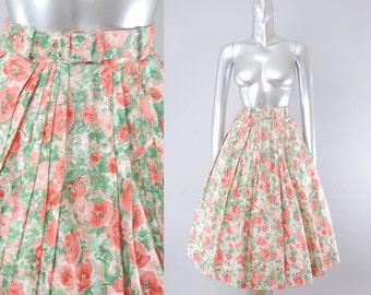 50s floral circle skirt   1950s circle skirt   vintage 50s skirt