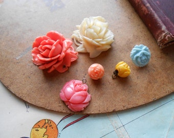 6 pc flower floral plastic celluloid coral destash kit for harvest and repurposing - junk jewelry lot