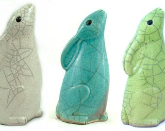 small Moongazing Hare - ceramic raku fired sculpture
