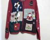 red ugly christmas sweater. six square of christmas. santa. angel. reindeer. snowman. christmas cardigan. womens Large