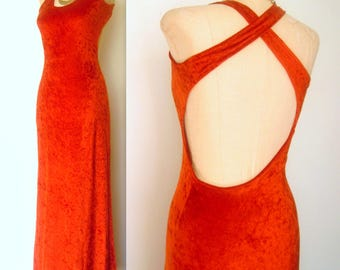 1970s Vintage 70s Vtg BURNT ORANGE Velvet Open Back Festival Maxi Dress xs/sm
