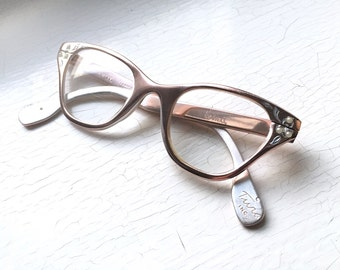 TURA Petite Adult Fit 50's USA Ice Pink Chrome Hornrim Square Cat Eye Eyewear Eyeglass Frames w Pearls Pale Pastel Aluminum Eyeglasses Small
