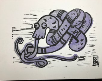 Purple Coiled Dragon - ink block print obakemono japanese ghost