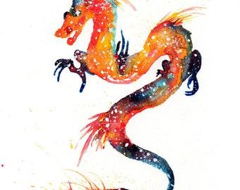 Fire Dragon ORIGINAL Watercolor Painting, Galaxy Spirit Animal 9x12