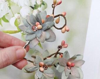 dusty blue hair pins, wedding hair pins, blue flower hair accessories, peach flowers, boho wedding, bridesmaid hair flowers, gray blue peach