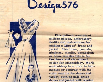 1950s Mail Order 576 Vintage Sewing Pattern Misses Afternoon Dress, One Piece Dress, Sleeveless Dress, Cropped Jacket Size 12 Bust 30