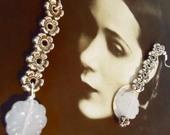 Dangle earrings, glass pastel blue flower, silver plate flowers, long