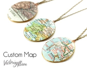 Large Oval Map Locket Necklace Personalized with Custom City, Vintage Brass Locket, Map Jewelry, Holiday Gift, Gift Under 40 - Made to Order