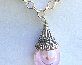 Hand Blown Pink Glass Ball Mustard Seed Pendant, Necklace, Faith Jewelry