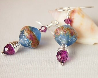 Blue Etched Lampwork Earrings, Sapphire, Amethyst, Sterling Silver Beaded Earrings - COMET