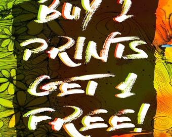 Buy ANY 2 PRINTS, Get 1 FREE - Original Art Prints by Far Out Arts