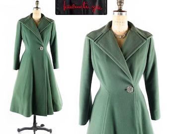 FREE U.S. Ship - Vintage Pauline Trigere Coat // Princess Coat // Flared Coat // Green Coat // 1980s Coat // 80s Coat // Fitted Coat - sz M