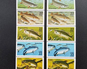 Vintage unused postage stamps - fish: muskellunge, cod, bass, tuna, catfish, 22c, 10 stamps, face value 2.20