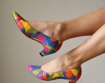 1990s Colorblock Heels >>> Size 5-1/2 (5.5)