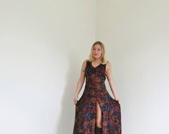 1990s Autumn Leaf Dress /// Size Small to Medium