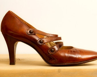 Vintage Patent Leather Triple Strap Mary Jane Heels! Women's Size 8