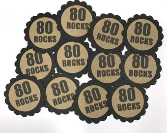 80th Birthday Favor Tags, 80 ROCKS, Set of 12, Kraft Brown and Black or Your Choice of Colors