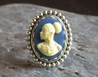 African cameo ring, antique silver ring, blue cameo ring, African jewelry, cameo jewelry, Kwanzaa gift, gift for mom, unique Christmas gift