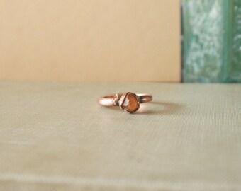 Raw Spessartine Garnet Ring Electroformed Copper Size 5.75