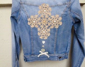 Cowgirl Denim Jacket Upcycled Blue Jeans Country Western Prairie Chic Boho Grunge Christian Clothing Vintage Doily Antique Shell Buttons