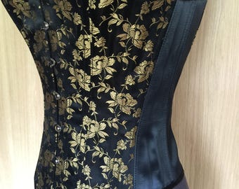 Gold and Black Colour Overbust Corset with Steel Boning.