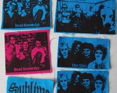 Hand Printed Punk Patches Dead Kennedys, Slits or Sublime Four Styles Available Black on Blue