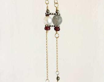Labradorite, Pearl and Ruby Set