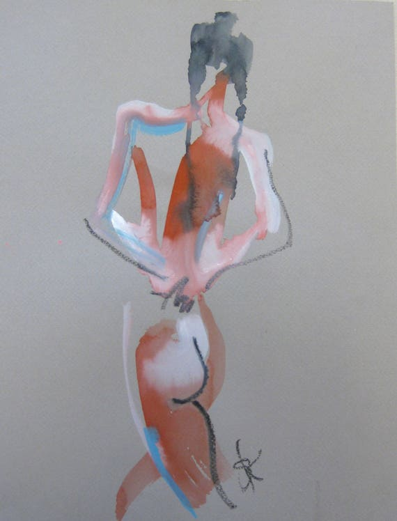 Nude painting of One minute pose 105.7 - Original nude painting by Gretchen Kelly
