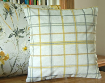 check plaid grey mustard lemon yellow cushion cover, ONE plaid check decorative pillow cover 16 inch / 40 cm