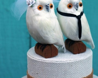 Hedwig Wedding Cake Topper: Bride & Groom Snowy Owl Cake Topper for a Harry Potter Wedding