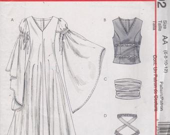 McCalls 4492 Ren Faire Costume Pattern Misses V Neck Dress Vest Belt Womens Sewing Size 6 8 10 12 Bust  30 31 32 34 UNCUT