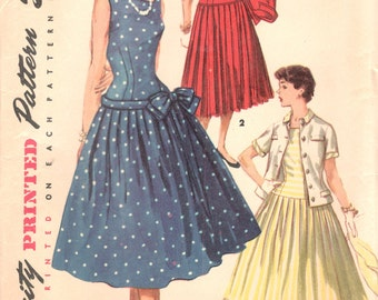 Simplicity 1077 1950s Junior Misses Pleated Day Evening Dress and Jacket Pattern Drop Waist  Womens Vintage Sewing Pattern Size 13 Bust 33