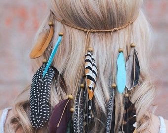 BOHO chic FESTIVAL FEATHER headband /hippie style / braided stretch band/ turquoise peacock/ can be worn as a necklace