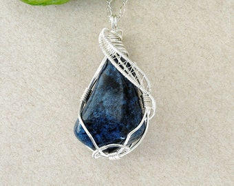 Dumortierite Necklace- Wire Wrapped Pendant- Mens Gemstone Necklace-  Healing Crystal - 0925 Sterling Silver- Blue Crystal- MADE TO ORDER
