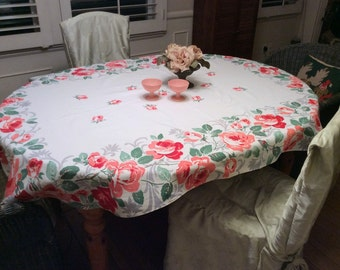 Vintage Oval Tablecloth Prettiest Pink & Red Roses