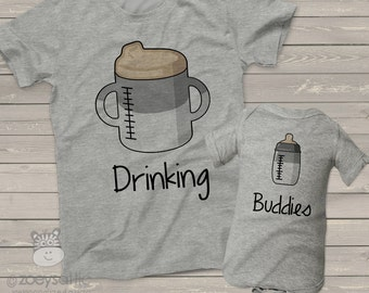 Sibling drinking buddies two shirt set- fun shirts for twins DBSS