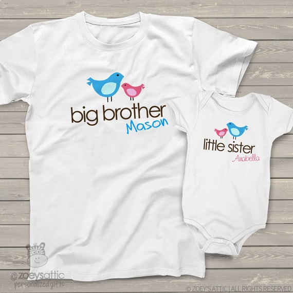 big brother, little sister shirt - adorable matching sibling set for any big/little combination