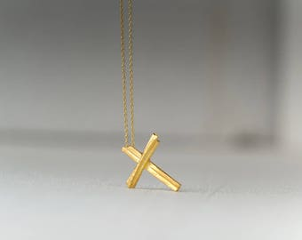 Solid Gold Cross Necklace 14k gold Handmade Cross Pendant Rustic Cross Simple Necklace White Gold Circle Rose Gold Gift Women