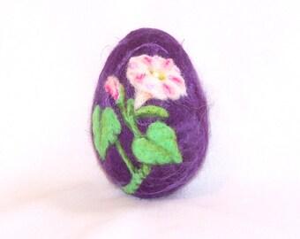 Easter Egg, Needle Felted Easter Egg - White and Pink Morning Glory on Purple Butter Silk Egg - Easter Gift - Needlefelt Egg - Easter Decor