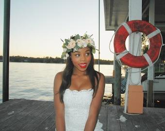 Adella, Mermaid Bridesmaid, White Mini Mermaid Dress, Reception Dress, Bridal, Formal